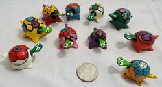 Lot of 10 Assorted Bobble Head Turtles Various Colors