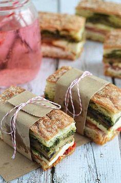 Eggplant, Prosciutto, and Pesto Pressed Picnic Sandwiches- perfect for your summ… Mit Auberginen, Schinken und Pesto gepresste Picknick-Sandwiches – perfekt Sandwich Recipes, Picnic Recipes, Picnic Ideas, Cake Recipes, Lunch Sandwiches, Sandwich Ideas, Brunch Recipes, Gourmet Sandwiches, Dinner Recipes