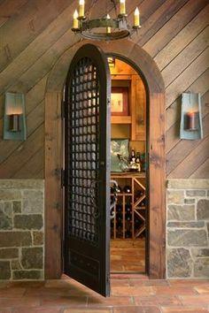 arched door to wine cellar