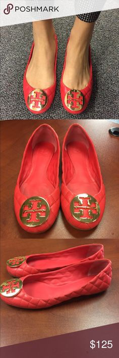 Women's flats-price drop Tory Burch quilted Reva Flats. These are in great condition with slight wear on back of heel, shown on picture.  100% authentic. Tory Burch Shoes Flats & Loafers