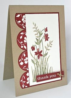 handmade card from Shelley's Stamping Ground: Clean & Simple Sketch 109 .. kraft base with vanilla and burgundy red ... Stampin'Up!