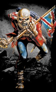 as the álbum hail to england of manowar, but iron maiden was first with the track called the trooper Iron Maiden Album Covers, Iron Maiden Albums, Arte Heavy Metal, Heavy Metal Music, Hard Rock, Heavy Metal Rock, Heavy Metal Bands, Rock Posters, Band Posters