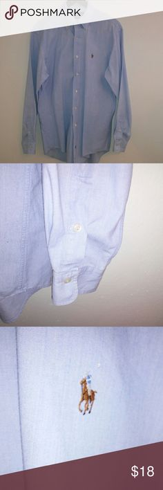 """Ralph Lauren M Blue L/S Button Up Shirt Polo Pony Ralph Lauren Men's size MEDIUM light blue classic oxford long sleeve button front shirt with embroidered multi-colored polo pony. Great condition with some stamped print that says LATCHERAN in the interior collar. Not visible when worn. No other visible flaws or defects 100% Cotton MEASUREMENTS: (see pics of measurements) 22"""" wide armpit to armpit 33"""" long Ralph Lauren Blue Label Shirts Casual Button Down Shirts"""
