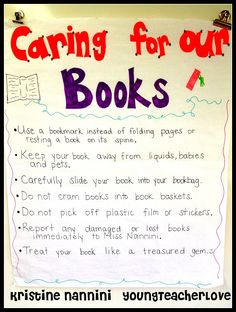 Caring For Our Books Anchor Chart- Do a mini lesson with your students on how to care for books in your classroom library. Great for a library introduction.- Young Teacher Love by Kristine Nannini Library Skills, Class Library, Library Ideas, School Library Lessons, Library Boards, Library Wall, Elementary School Library, Elementary Schools, Elementary Teaching