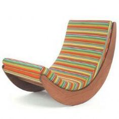 """Verner Panton """"Relaxer"""" rocking chair reissued by Matzform. Sculpted oiled nyotah wood, Kvadrat fabrics velcro on and off. Cool Furniture, Modern Furniture, Furniture Design, Outdoor Furniture, Sofa Chair, Armchair, Design Tisch, Take A Seat, Modern Chairs"""