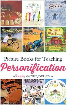Teaching Personification with Picture Books I love how picture books can bring lessons. Here's a fun list of picture books (and free printable worksheets) to use when you teach your kids about personification. Reading Strategies, Reading Skills, Teaching Reading, Reading Comprehension, Guided Reading, Reading Intervention, Reading Lists, Teaching Ideas, Teaching Poetry