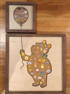 Disney Inspired Pin Display Shadowbox (Winnie the Pooh) - bilderrahmen - Disney Pin Trading, Casa Disney, Disney Rooms, Crafts For Teens To Make, Diy And Crafts, Disney Crafts For Adults, Disney Diy Crafts, Decor Crafts, Easy Crafts