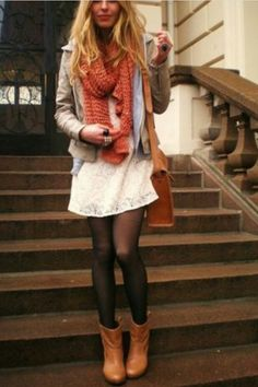 White lace dress with brown boots