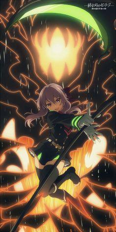 Shinoa Hiragi y su demonio por contrato Shikama Douji