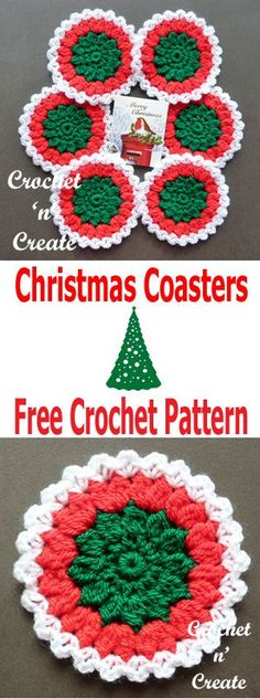 Christmas Coasters Free Crochet Pattern - Click here for more. #crochetncreate #crochetcoasters