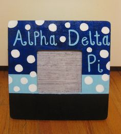 Alpha Delta Pi Chalkboard Paint Picture Frame by tealejane on Etsy, $15.00