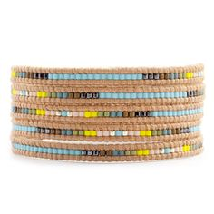 Chan Luu - Light Blue Mix Wrap Bracelet on Beige Leather, $190.00 (http://www.chanluu.com/wrap-bracelets/light-blue-mix-wrap-bracelet-on-beige-leather/?page_context=category