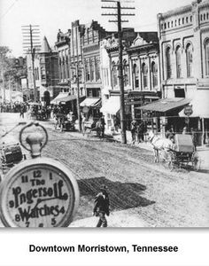 Downtown Morristown, Tennessee. This photo was taken in 1915. It shows numerous people on Main Street before it was paved. Electric poles can be seen along with automobiles and carriages.