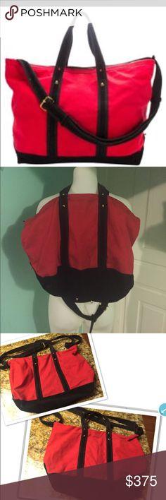 3.1 Phillip Lim Weekender Tote Red & Black 3.1 Phillip Lim Canvas & Suede Weekender Tote Red & Black Travel Bag. Excellent condition. App 18x 14 x7. 3.1 Phillip Lim Bags Travel Bags