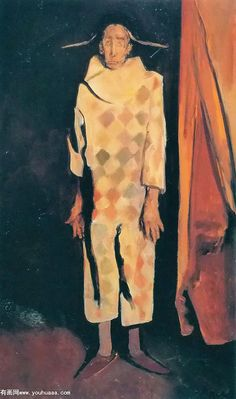 harlequin with curtains..Corneliu Baba