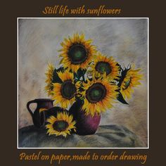 Made to order Drawing,Original Still life Pastel Drawing,Sunflowers painting,Flower painting,Pastel on paper,Certificate Attached,23.6 x 23.6in  You can order this drawing in any size you want. The painting will be similar to the one you see here, that I have already sold. The drawing will be signed by me and will be shipped directly from my studio within 3 to 5 business days after payment is received, unless there are complications or holidays.  HAND-PAINTED: All paintings in the store are…