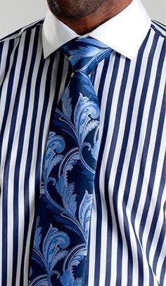 Steven Land 100% Cotton Mens Stripe French Cuff Dress Shirt - DS1072