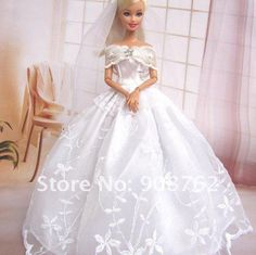 Barbie Wedding Dresses   acessórios para vestido de noiva barbie para presente criança boneca ...