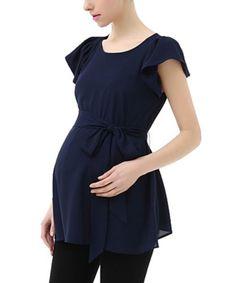 Momo-Kimi-Kai-Maternity-Navy-Quinn-Flutter-Sleeve-Cap-Sleeve-Blouse-Size-Small Maternity Dress Outfits, Stylish Maternity, Maternity Wear, Maternity Fashion, Pregnancy Wardrobe, Pregnancy Outfits, Nursing Dress, Nursing Clothes, Clothes For Pregnant Women