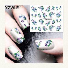 YZWLE 1 Foglio di Design FAI DA TE Trasferimento di Acqua Nails Art Sticker/Decalcomanie Del Chiodo di Acqua/Adesivi Per Unghie Accessori (YZW-8040)
