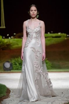 david fielden 2015 8310 bridal sleeveless colored wedding dress straps applique #bridal #wedding #weddings #weddingdress #weddinggown