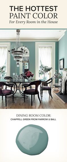 Love everything about this room. The wall color, and the chair color and design. The 8 Best Paint Colors of the Year -- One Kings Lane Urban Deco, Dining Room Blue, Best Dining Room Colors, Living Room Wall Colors, Blue Living Room Paint, Dinning Room Paint Ideas, Livingroom Paint Ideas, Paint Colors For Kitchen, Formal Dining Rooms