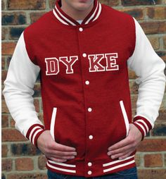 Dyke College jacket makes a perfect gay gift or statement | Pretty Pink Pearl Ltd gift, pink pearl, colleg jacket