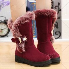 Trendy Solid Color and Faux Fur Design Women's Mid-Calf Boots - WINE RED 39 Mobile