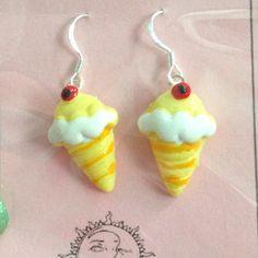 Yummy Ice Cream Cone Earrings BRAND NEW 925 Hooks