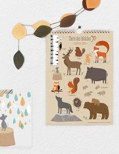 Tierkalender mit Illustrationen // Animal illustration calendar via DaWanda.com