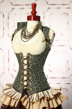 Beautiful Brown and Teal Vixen Corset