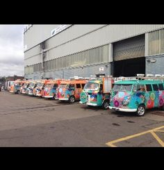 Colourful VW camper vans, I need one!