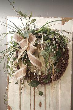 Greenery Wreath - Wreath Great for All Year Round - Everyday Burlap Wreath, Door Wreath, Front Door Wreath, wedding wreath, white floral