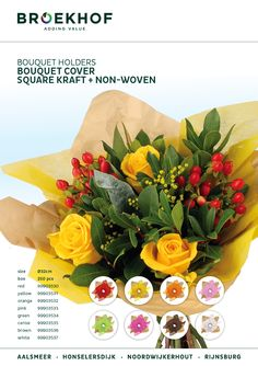 The beautiful bouquet holder 'Square Kraft + non-woven' is available in 8 colours. #Broekhof #bouquet holder #flowers #florist