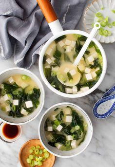 This vegan miso soup recipe is healthy, nourishing, and flavorful. Filled with tofu, scallions, and seaweed, it's so easy to make.