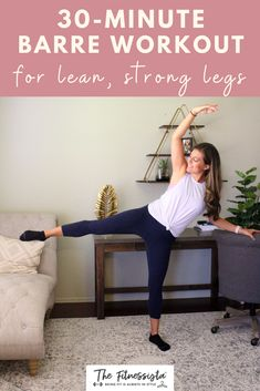 Sharing a barre video workout you can do at home, featuring some of my very favorite exercises for lean, strong legs. All you need is something sturdy to hold onto for balance, like a chair or countertop. | Barre Workout | The Fitnessista | Barre Workout Video, Cardio Barre, Workout Videos, Easy At Home Workouts, Fun Workouts, Body Workouts, 4 Week Workout, Weekly Workout Plans, Workout Routines For Women