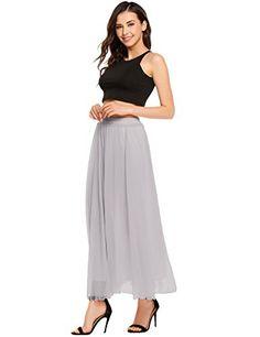 3162274218 Womens High Elastic Waist Ankle/Full Length Pleated Vintage Retro Chiffon  Maxi Skirt Casual Skirts