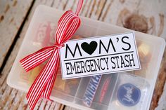 Mom's Emergency Stash-plastic organizer box filled with chocolates with tag tied on with ribbon
