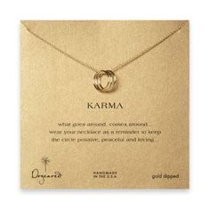 This beautiful #Karma necklace will come to you on an adorable gift card and boxed, saying reads: What goes around comes around.Wear your necklace as a reminder ...