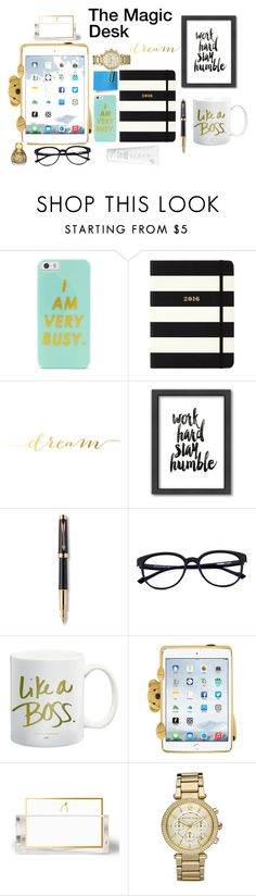 """""""The Dream Desk"""" by ilincad on Polyvore featuring interior, interiors, interior design, home, home decor, interior decorating, BaubleBar, Kate Spade, Americanflat and Parker"""