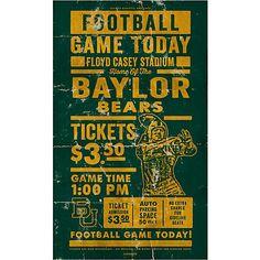 Baylor vintage gameday ticket wooden sign