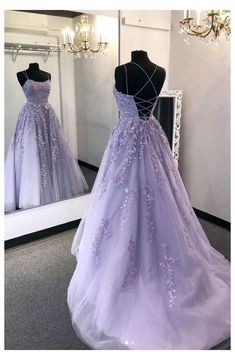 Light Purple Prom Dress, Lavender Prom Dresses, Prom Girl Dresses, Prom Dresses For Teens, Prom Outfits, Formal Evening Dresses, Dance Dresses, Purple Lace, Purple Prom Dresses