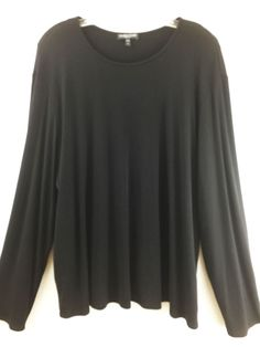 Womens Plus Size 3X Eileen Fisher Black Silk Crepe Long Slv Stretchy Blouse Top #EileenFisher #Blouse #Career