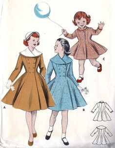 #Vintage 1950s Girls Coat Vintage #Sewing #Pattern Double or Single Breasted, Butterick 7229 size 8