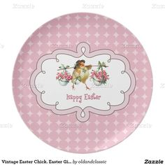 Vintage Easter Chick design Easter Gift Decorative Melamine Plates. Matching cards and other products available in the Holiday / Easter Category of the oldandclassic store at zazzle.com