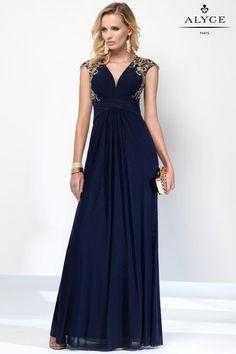 Alyce Paris | Style 35840 | Navy Blue Evening Gown | Cap Sleeve  Dress