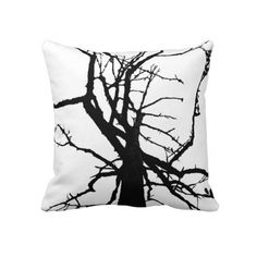 Tree Top Abstract Pillow ~   This contemporary throw pillow features an artistic, black and white abstract pattern of the top of a tulip tree in winter with bare branches in silhouette.