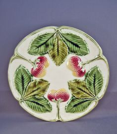 Vintage Strawberry Majolica Plate