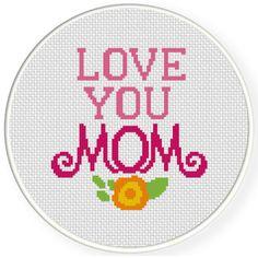 Love You Mom Cross Stitch Pattern Cross Stitch Beginner, Cross Stitch Heart, Cross Stitch Cards, Simple Cross Stitch, Modern Cross Stitch, Cross Stitching, Cross Stitch Embroidery, Embroidery Art, Cross Stich Patterns Free