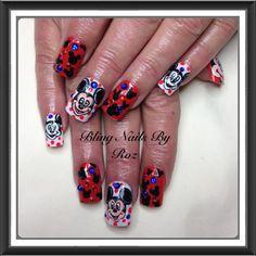 Minnie Mouse Nails :-O OMG Minnie Mouse Nails, Pandora Charms, Bling, Disney, Beauty, Beautiful, Jewel, Beauty Illustration, Disney Art